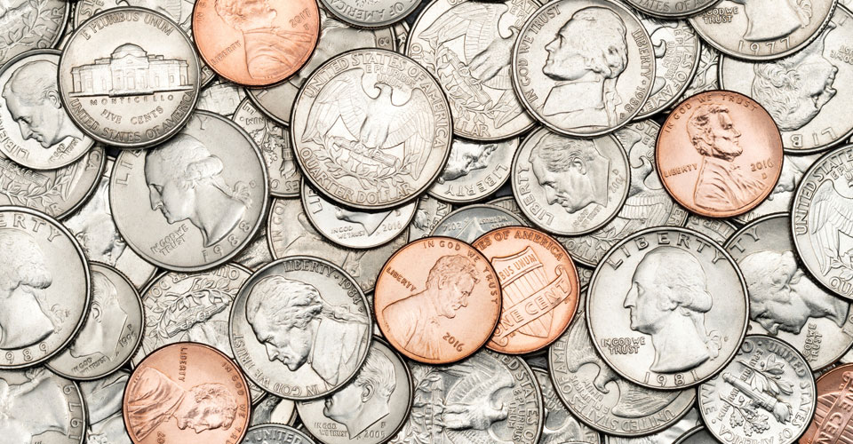 A pile of U.S. coins
