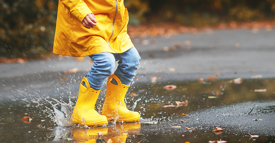 Child playing in a puddle of water